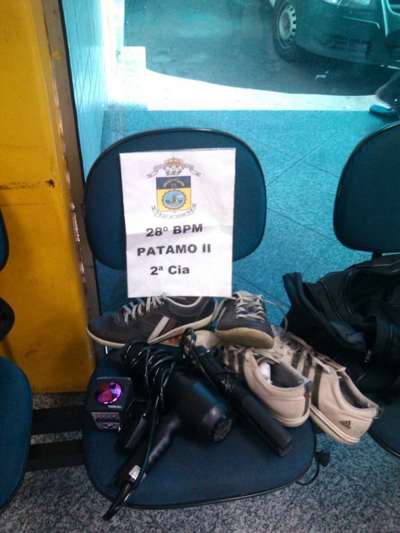 Materiais roubados (Foto: Cedida pela Polícia Militar)