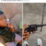 Na rede: Segundo a PM, jovem tinha o costume de se exibir no Facebook com fotos de arma e drogas (Foto: Cedida pelo 37º BPM)