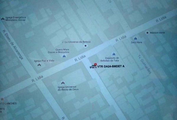 Tecnológico: Mapas com a localização exata do veículo roubado foram passados online para PM em Nova Iguaçu (Divulgação)