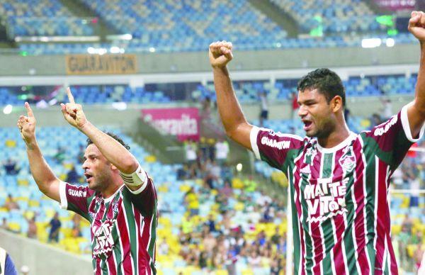 Experiência: Fred e Gum celebram gol do Fluminense no Maracanã (Foto: Divulgação)