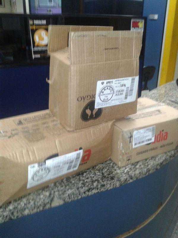 (Foto: Cedida pela PM) Caixas com alimentos congelados foram encontrados com o suspeito