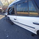 Sem vítima: Acidente no viaduto da Radial Leste, sobre o bairro Vila Americana, terminou na prisão de um foragido da Justiça (Foto: Divulgação GMVR)