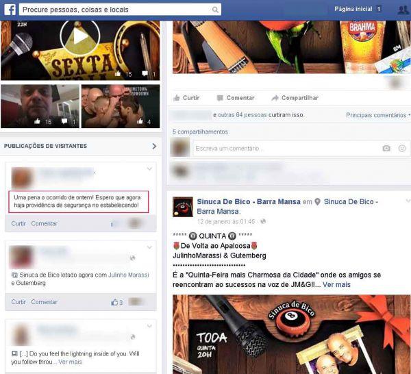 Após confusão: Mulher publicou uma mensagem na página da casa numa rede social pedindo mais segurança(Foto: Reprodução Facebook)