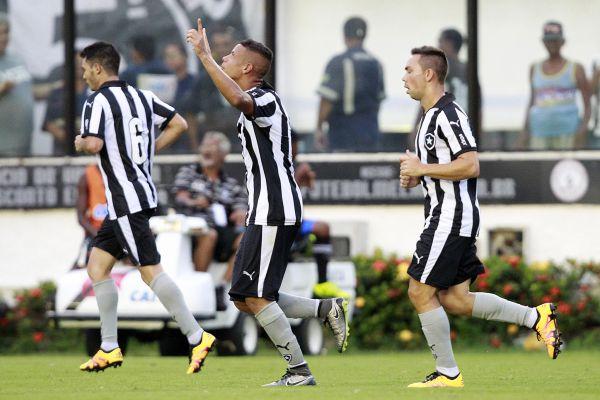 No fim: Jogadores do Botafogo comemoram o gol da vitória (Victor Silva/SSPress)