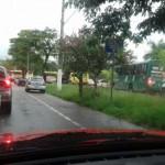 Trânsito próximo ao antigo Hospital São Margarida, no bairro Niterói, está parado (Foto: Jadylson Oliveira)