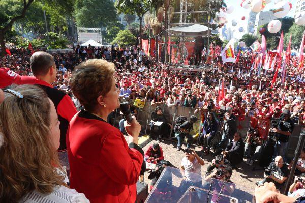 Mais uma vez: Em evento em São Paulo, presidente chamou o processo de impeachment, que tramita no Senado, de golpe (Foto: Divulgação/Agência PT)