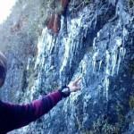 Em Itamonte: Guia turístico do parque, César Caffé, fez o registro de uma fina camada de gelo que cobriu a vegetação e rochas (Foto: Cedida por César Caffé)