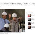The New York Times: Jornal americano deu destaque a prisão do ex-governador do Rio Sérgio Cabral (Foto: Reprodução internet)