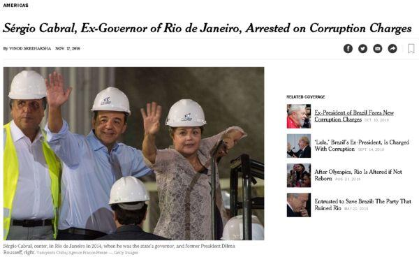 The New York Times: Jornal americano deu destaque à prisão do ex-governador do Rio Sérgio Cabral (Foto: Reprodução internet)