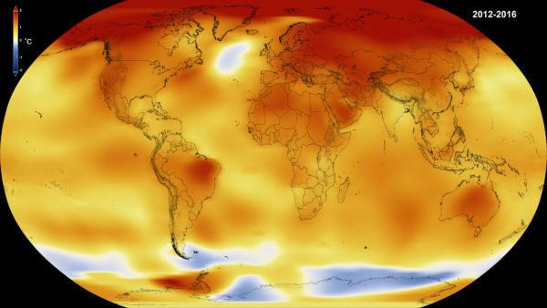 Calor: Áreas mais quentes aparecem em vermelho