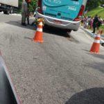 ônibus atropelou o ciclista na entrada de Angra dos Reis (foto: Enviada por WhatsApp)
