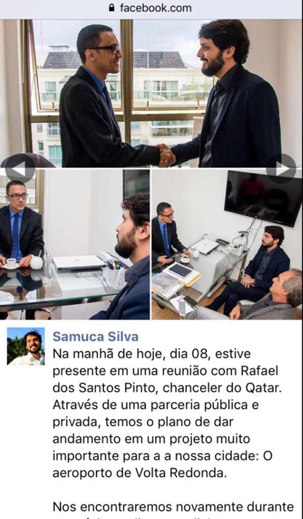Samuca com o 'chanceler' do Qatar que não é nada do Qatar (foto: Reprodução do Facebook)
