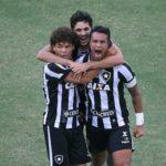Jogadores do Botafogo comemoram um dos gola marcados no Engenhão