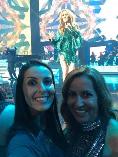 Cristina Diniz com a filha Tatti, no show de Celine Dion, em Las Vegas