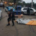 Caixas de som estavam sendo colocadas para a realização de um baile funk quando os policiais chegaram (Foto: Cedida pela Polícia Militar)