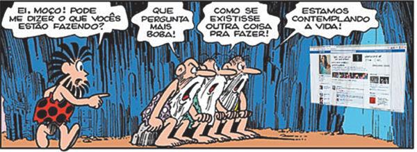 Mito da Caverna versão atual, adaptada de Maurício de Souza por Tomaz Oliveira
