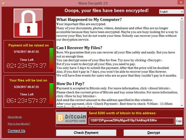 Invasão: A tela de um computador infectado pelo WannaCry