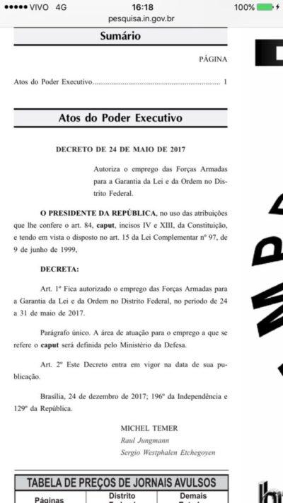 Cópia do decreto que autoriza forças armadas na segurança de prédios em Brasília