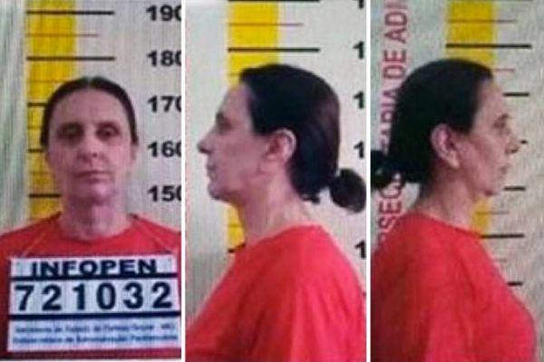Andrea Neves vestida com roupas na cor laranja, padrão do sistema prisional mineiro (foto: Polícia Federal)