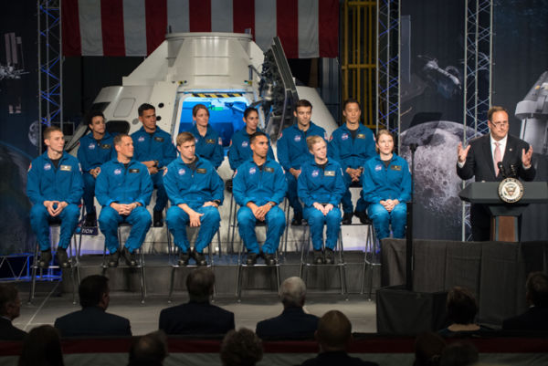 Robert Lightfoot delivers remarks during an event where NASA introduced 12 new astronaut candidates, Kayla Barron, Zena Cardman, Raja Chari, Matthew Dominick, Robert Hines, Warren Hoburg, Jonathan Kim, Robb Kulin, Jasmin Moghbeli, Loral O'Hara, Francisco Rubio and Jessica Watkins at NASA's Johnson Space Center in Houston, Texas. After completing two years of training, the new astronaut candidates could be assigned to missions performing research on the International Space Station, launching from American soil on spacecraft built by commercial companies, and launching on deep space missions on NASA's new Orion spacecraft and Space Launch System rocket. Photo Credit: (NASA/James Blair)