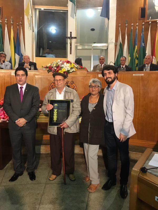 Homenageado: Benício Ferreira da Silva foi um dos pioneiros de Volta Redonda e recebeu título em cerimônia na Câmara