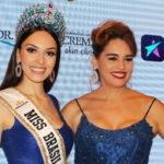 Gabrielle foi coroada por Beatrice Fontoura, Miss Brasil Mundo 2016 e recebeu a faixa da atriz Suzy Rêgo, vice-Miss Brasil Mundo e vice-Miss Brasil Universo, no ano de 1984 (Foto: Divulgação)