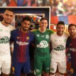 Soares e Messi com sobreviventes da chapecoense