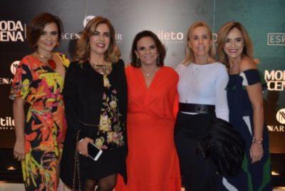 Vanessa Barbosa, a médica Christiane Roma, Dorinha Ávila Marcelino, Mônica Mascarenhas e Liliane Araújo, realizadoras e convidadas do 'Moda Em Cena'