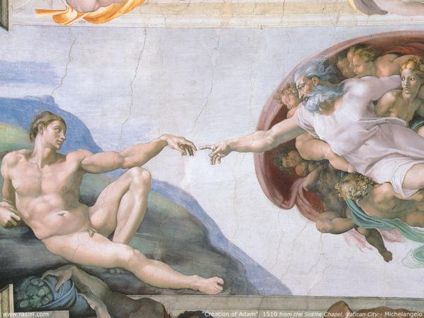 Simbólico: Na visão de Michelangelo, um deus grisalho traz o homem à existência; Darwin discorda (Reprodução internet)