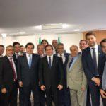Juntos: Christino Áureo, Rodrigo Maia, Edson Albertassi e Gustavo Tutuca estiveram na cerimônia que marca início da ajuda federal ao Estado do Rio