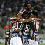 Jogadores comemoram gol do Fluminense diante do São Paulo no Maracanã (FOTO NELSON PEREZ/FLUMINENSE F.C.)
