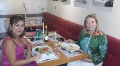 Heloisa Lobo e Maria Adélia Mezzabarba, ontem almoçando no Di Duarte Caffé e Bistrô