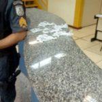 Na 88ª DP: Dupla estava em carro onde foram apreendidos 48 pinos de cocaína (Foto: Cedida pela Polícia Militar)