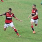À flor da pele: Vizeu se emocionou após marcar, na sequência ele fez gestos obscenos ao companheiro de time (Foto: Gilvan de Souza / Flamengo)