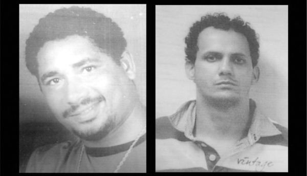 (Da direita para a esquerda) Gladston Barbosa Pedroso, o 'Tatape', e Maxson Weslei Soares de Oliveira, vulgo 'Peca' (Foto: Cedida pela Polícia Militar)