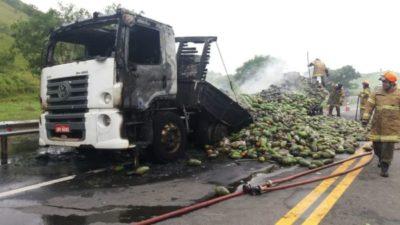 Caminhão que transportava mamão pega fogo