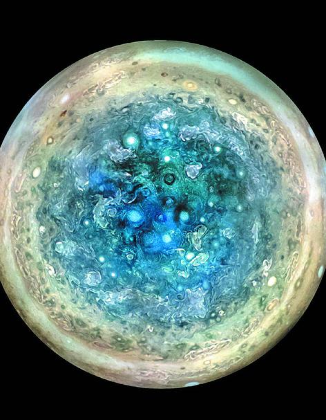 Bizarros: Os furacões azuis no polo sul de Júpiter (Foto: Divulgação)