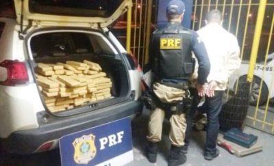Homem é preso com 130 kg de drogas e carro roubado