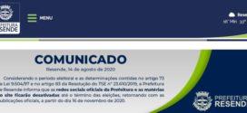 Prefeitura de Resende desativa redes sociais e matérias do site oficial
