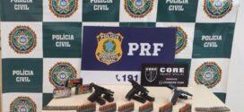 PRF e Polícia Civil apreendem pistolas e munições de fuzil na Dutra em Itatiaia